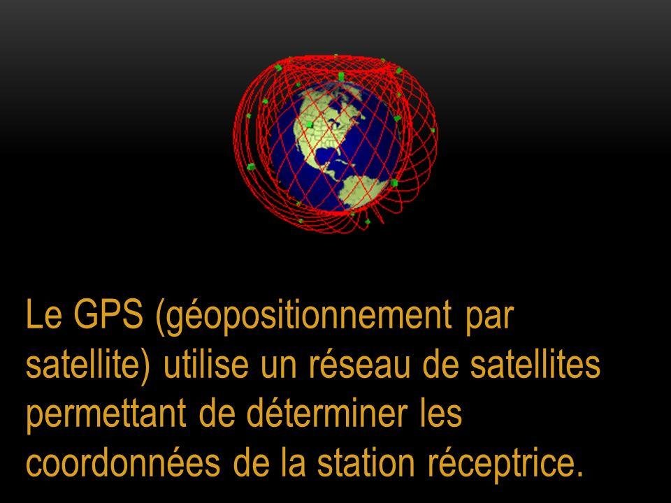 Le GPS (géopositionnement par satellite) utilise un réseau de satellites permettant de déterminer les coordonnées de la station réceptrice.
