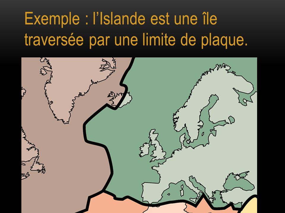 Exemple : l'Islande est une île traversée par une limite de plaque.