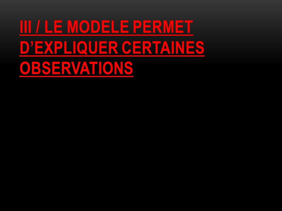 Iii / le modele permet d'expliquer certaines observations