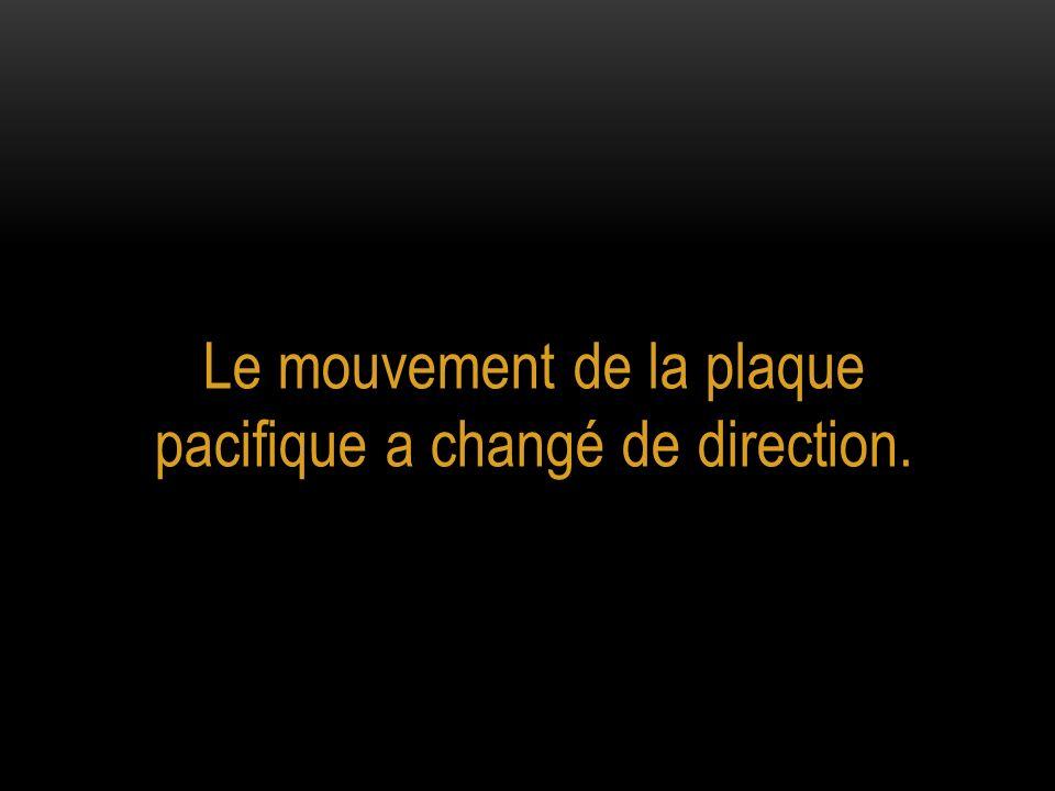 Le mouvement de la plaque pacifique a changé de direction.