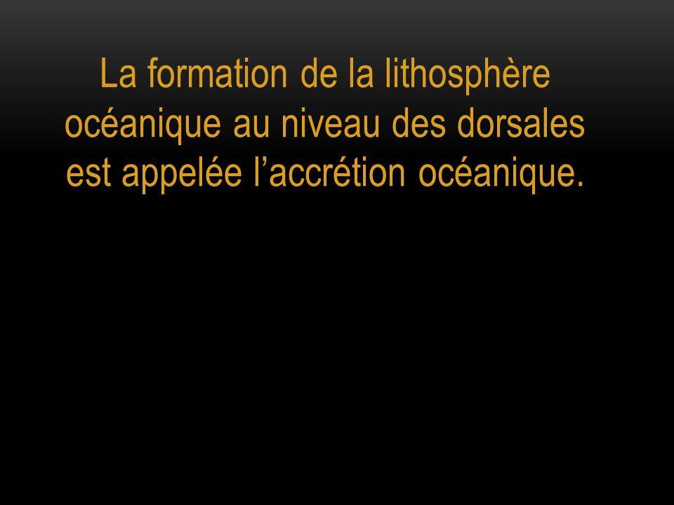 La formation de la lithosphère océanique au niveau des dorsales est appelée l'accrétion océanique.