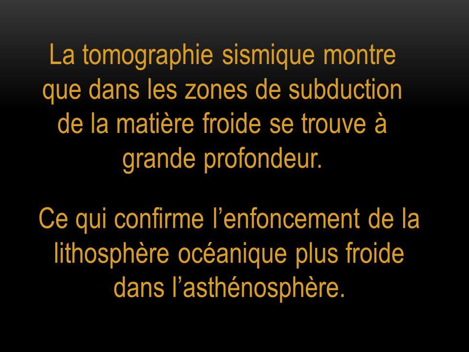 La tomographie sismique montre que dans les zones de subduction de la matière froide se trouve à grande profondeur.