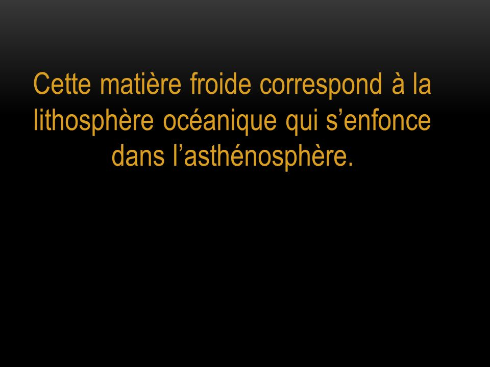 Cette matière froide correspond à la lithosphère océanique qui s'enfonce dans l'asthénosphère.