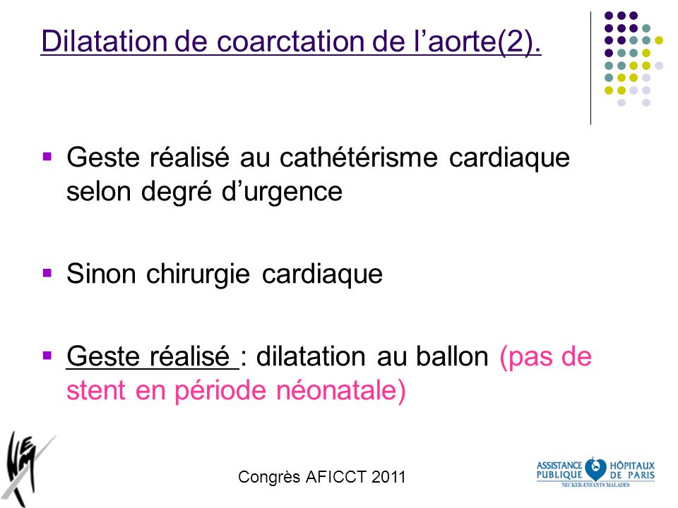 Dilatation de coarctation de l'aorte(2).