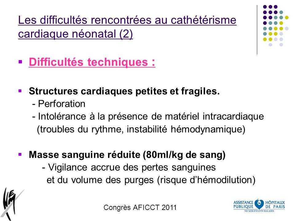 Les difficultés rencontrées au cathétérisme cardiaque néonatal (2)