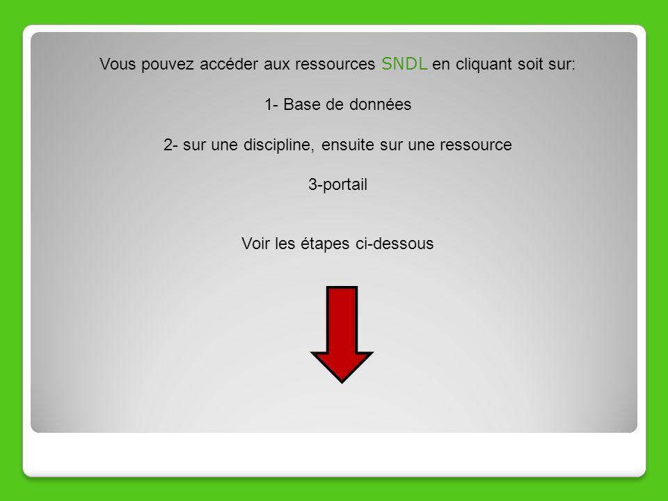 Vous pouvez accéder aux ressources SNDL en cliquant soit sur: