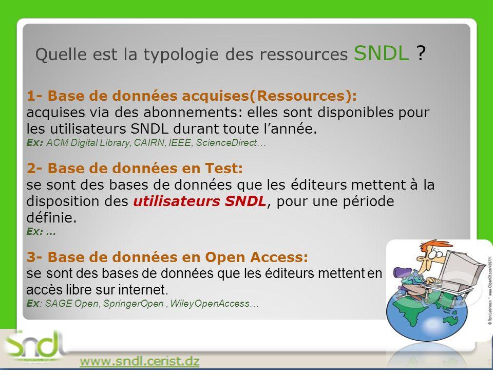 Quelle est la typologie des ressources SNDL