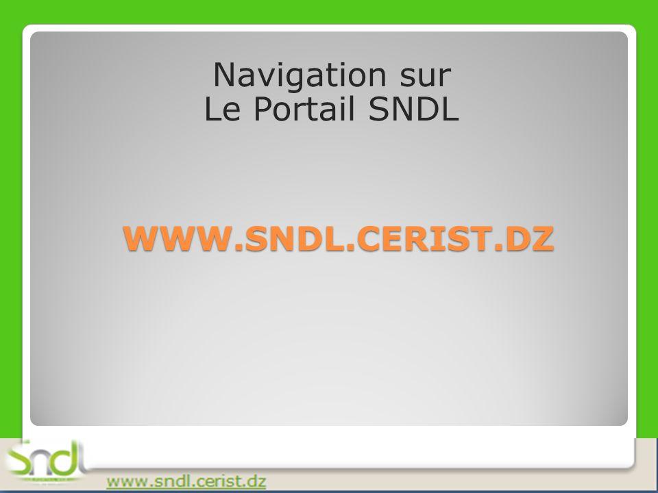 Navigation sur Le Portail SNDL