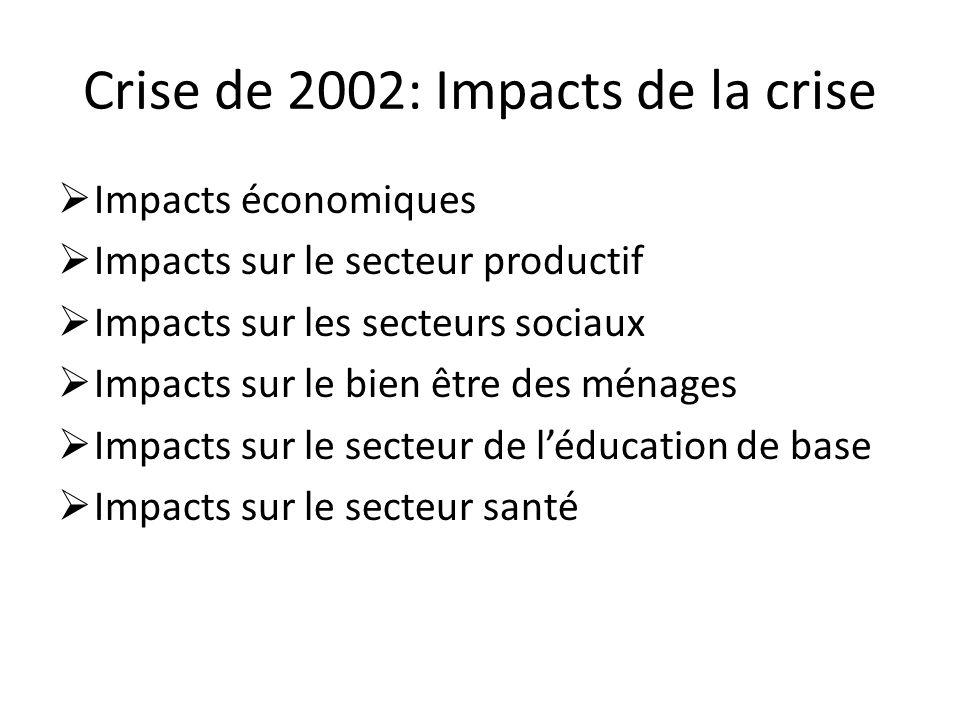 Crise de 2002: Impacts de la crise