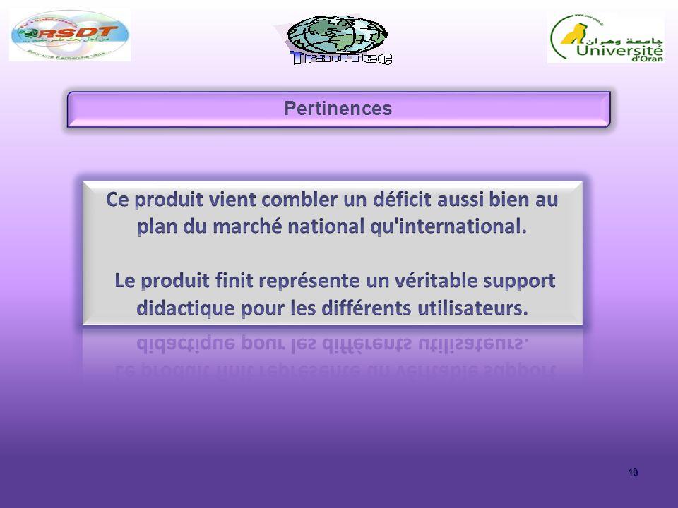 Pertinences Ce produit vient combler un déficit aussi bien au plan du marché national qu international.
