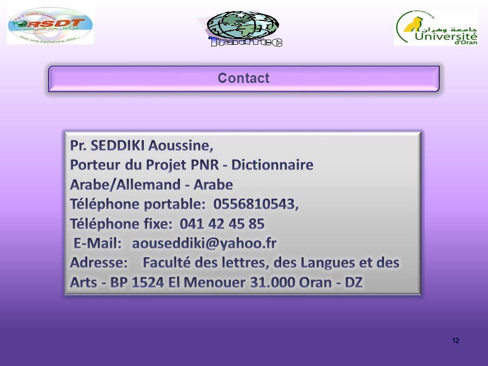 Porteur du Projet PNR - Dictionnaire Arabe/Allemand - Arabe