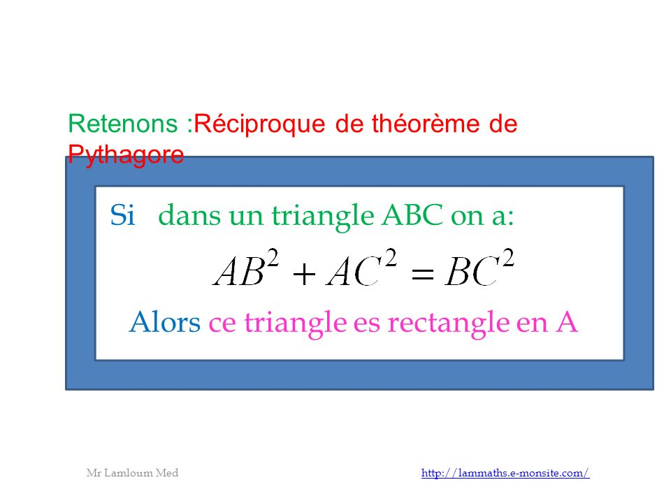 Si dans un triangle ABC on a:
