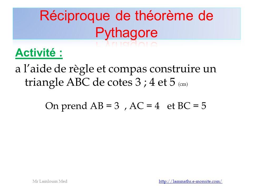 Réciproque de théorème de Pythagore