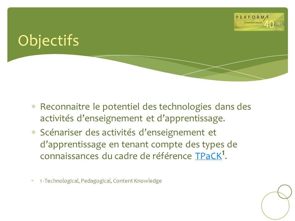 Objectifs Reconnaitre le potentiel des technologies dans des activités d'enseignement et d'apprentissage.