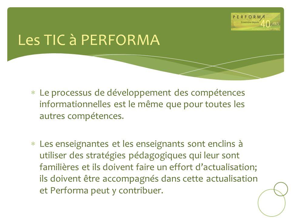 Les TIC à PERFORMA Le processus de développement des compétences informationnelles est le même que pour toutes les autres compétences.