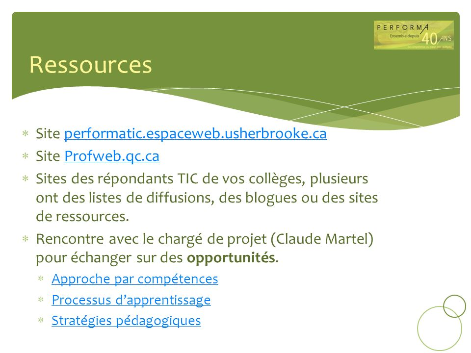 Ressources Site performatic.espaceweb.usherbrooke.ca