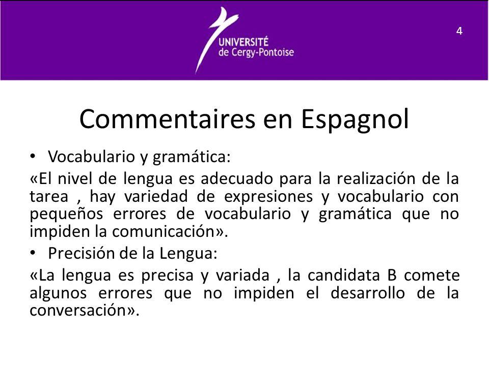 Commentaires en Espagnol