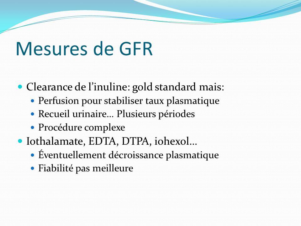 Mesures de GFR Clearance de l'inuline: gold standard mais: