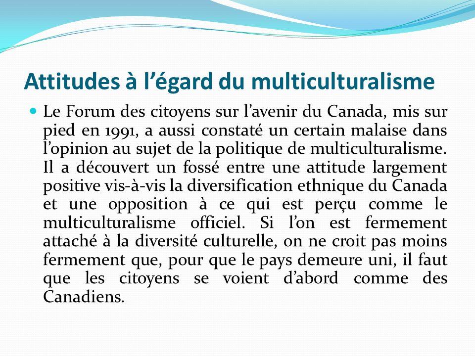 Attitudes à l'égard du multiculturalisme