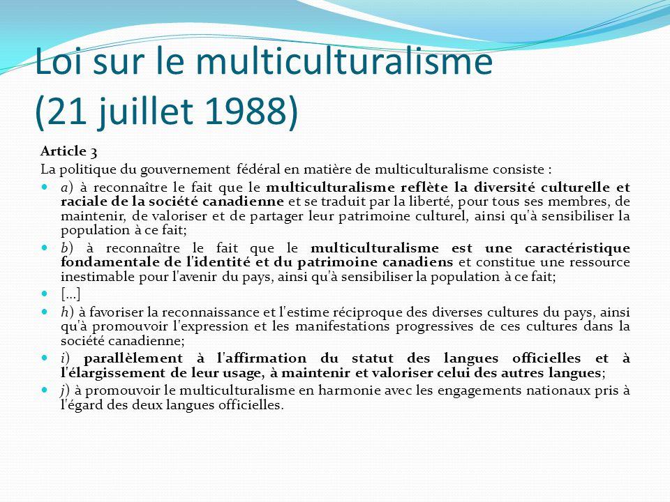 Loi sur le multiculturalisme (21 juillet 1988)