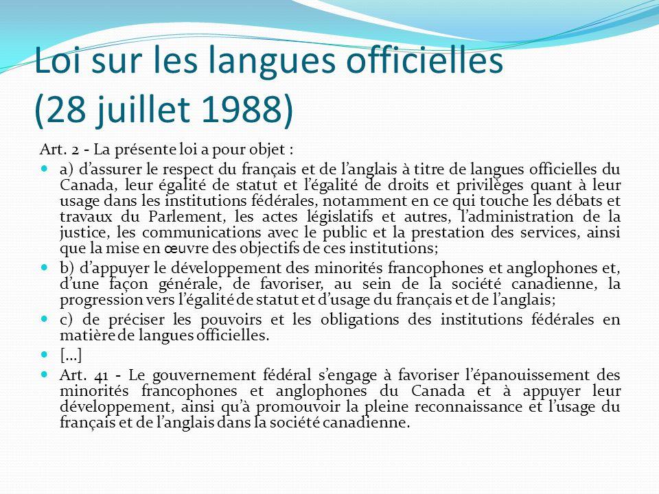 Loi sur les langues officielles (28 juillet 1988)