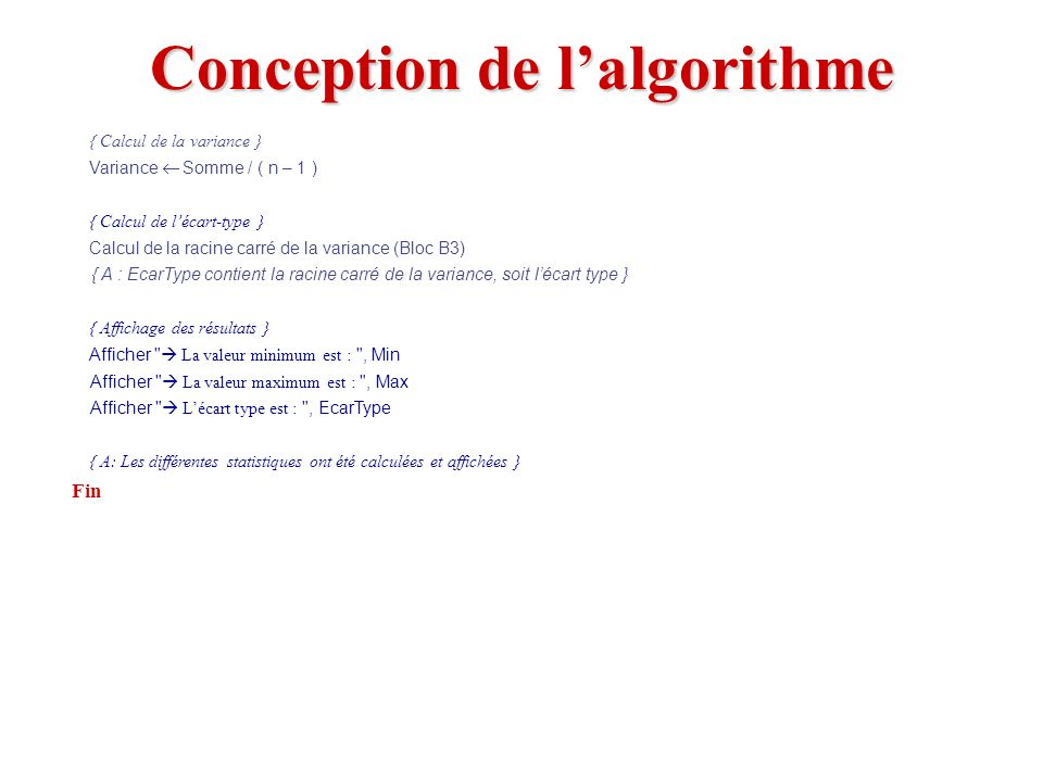 Conception de l'algorithme