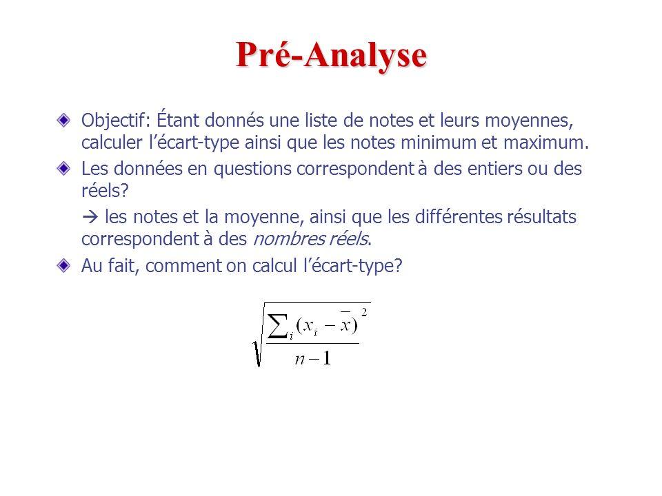 Pré-Analyse Objectif: Étant donnés une liste de notes et leurs moyennes, calculer l'écart-type ainsi que les notes minimum et maximum.