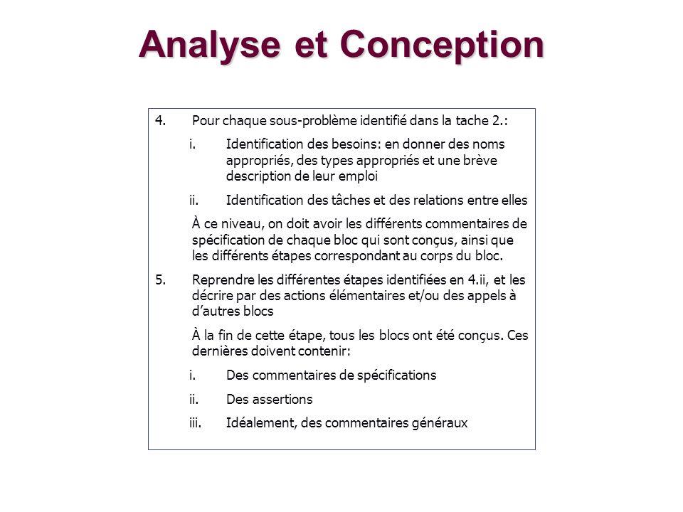 Analyse et Conception Pour chaque sous-problème identifié dans la tache 2.: