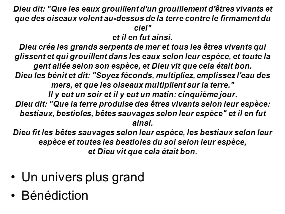 Un univers plus grand Bénédiction