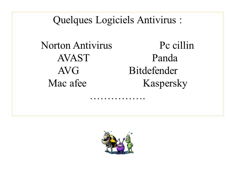 Quelques Logiciels Antivirus : Norton Antivirus Pc cillin AVAST Panda