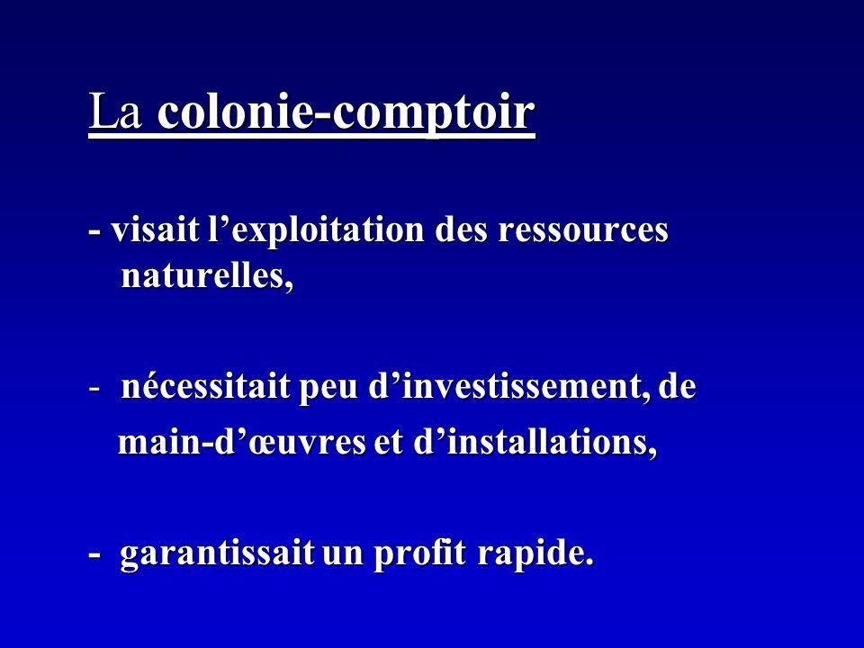 La colonie-comptoir - visait l'exploitation des ressources naturelles,