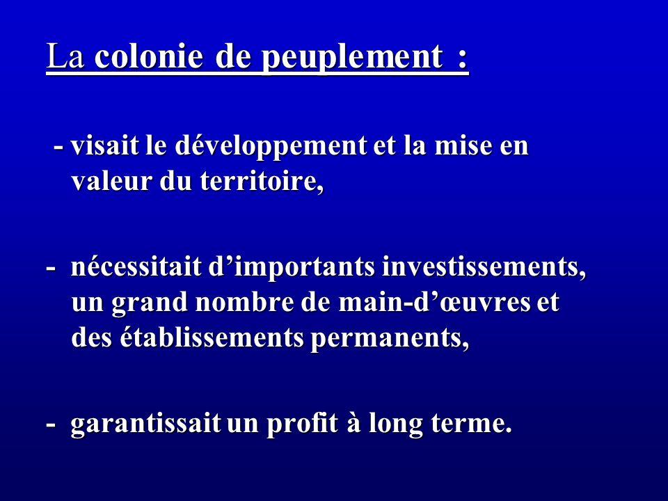 La colonie de peuplement :