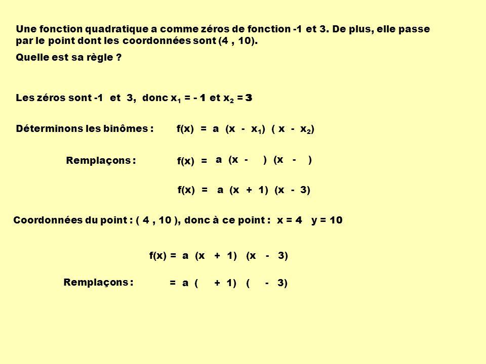 Une fonction quadratique a comme zéros de fonction -1 et 3