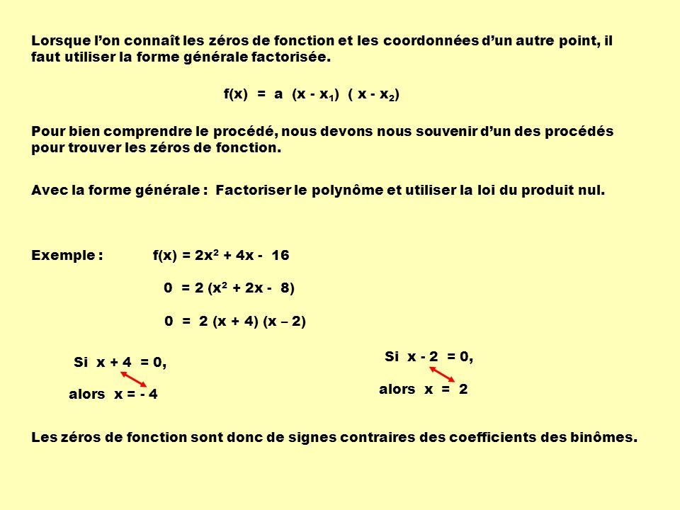 Lorsque l'on connaît les zéros de fonction et les coordonnées d'un autre point, il faut utiliser la forme générale factorisée.