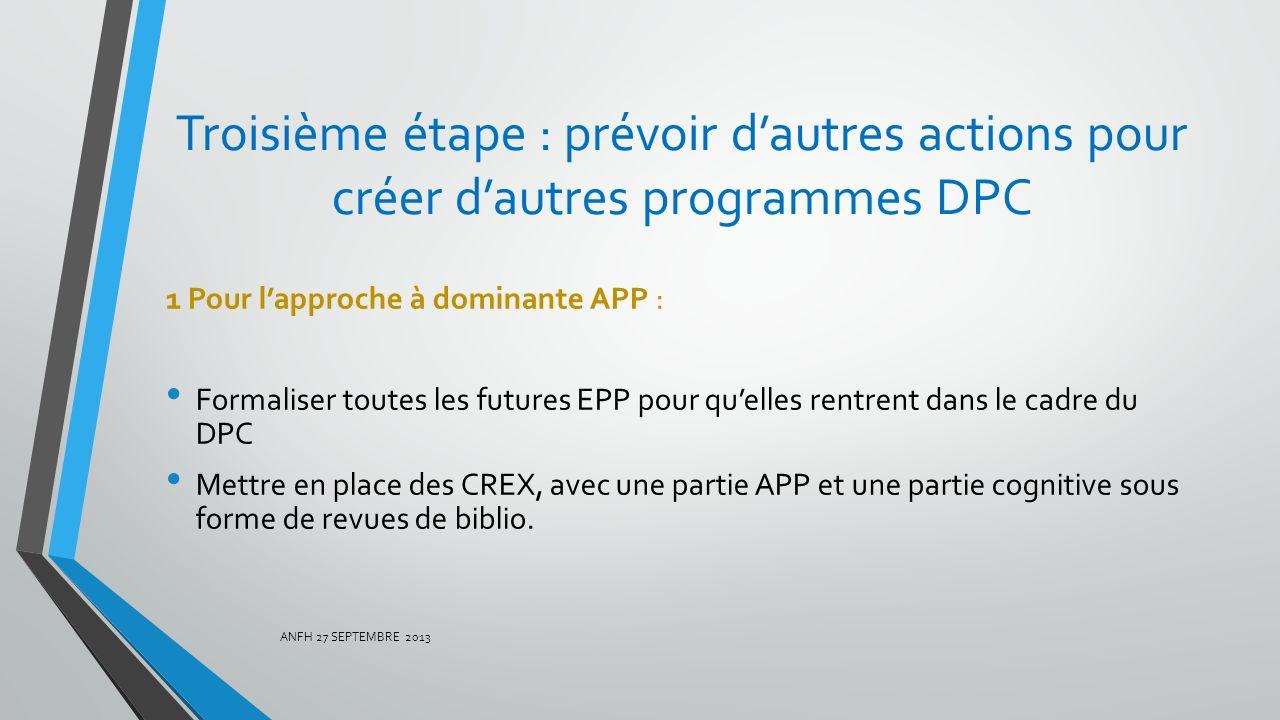 Troisième étape : prévoir d'autres actions pour créer d'autres programmes DPC