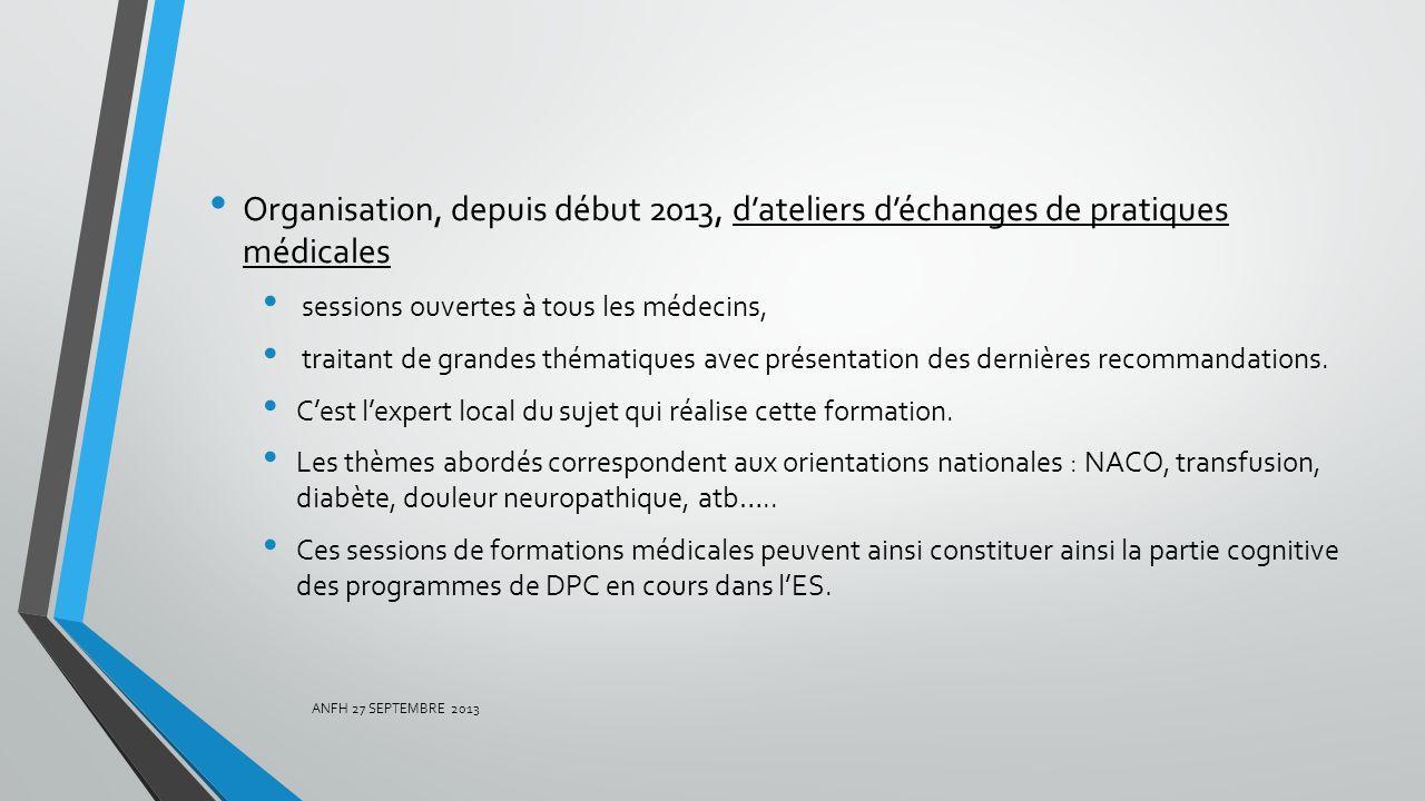 Organisation, depuis début 2013, d'ateliers d'échanges de pratiques médicales