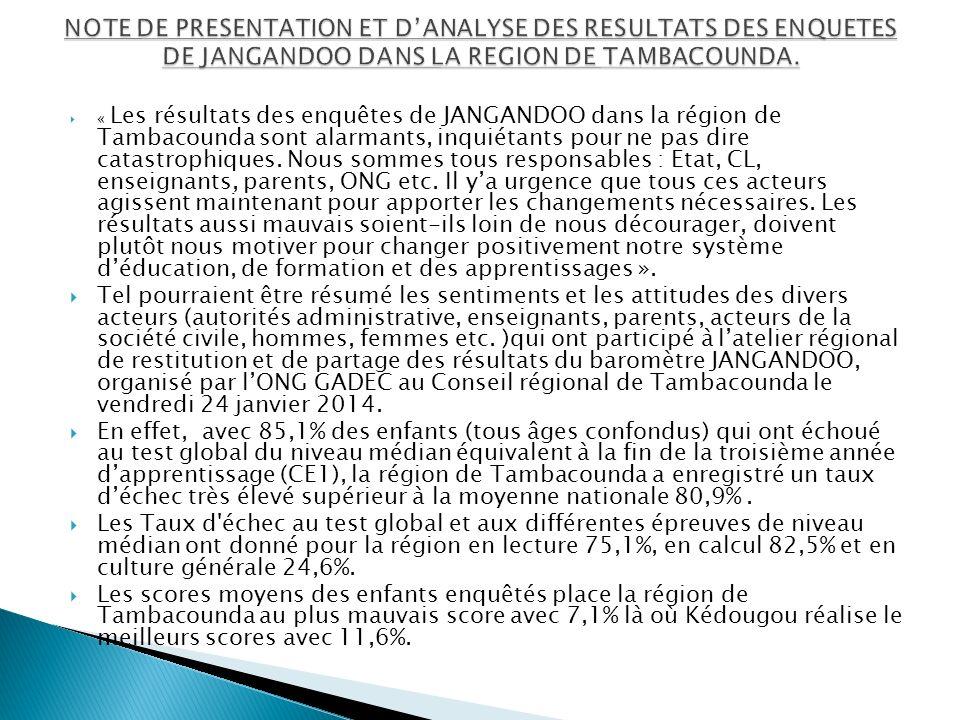 NOTE DE PRESENTATION ET D'ANALYSE DES RESULTATS DES ENQUETES DE JANGANDOO DANS LA REGION DE TAMBACOUNDA.