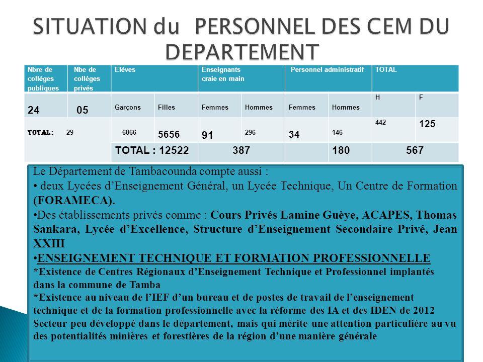 SITUATION du PERSONNEL DES CEM DU DEPARTEMENT