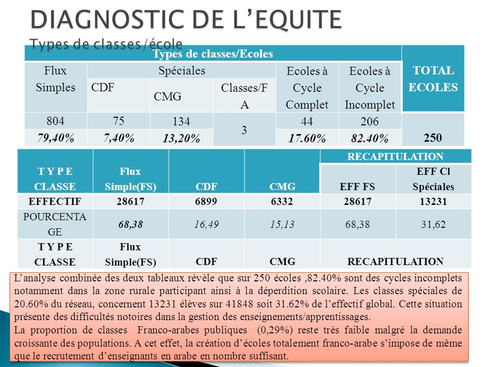DIAGNOSTIC DE L'EQUITE Types de classes/école