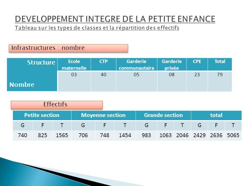 DEVELOPPEMENT INTEGRE DE LA PETITE ENFANCE Tableau sur les types de classes et la répartition des effectifs