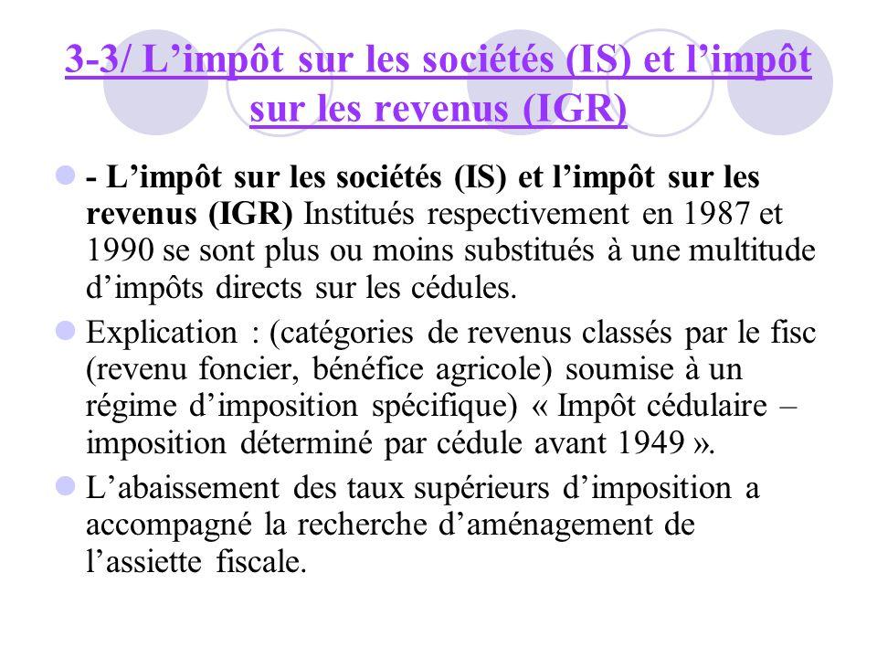 3-3/ L'impôt sur les sociétés (IS) et l'impôt sur les revenus (IGR)