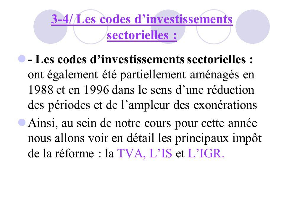 3-4/ Les codes d'investissements sectorielles :