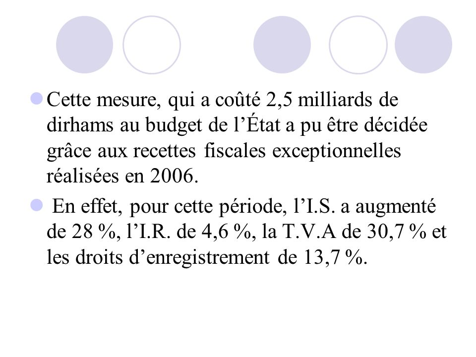 Cette mesure, qui a coûté 2,5 milliards de dirhams au budget de l'État a pu être décidée grâce aux recettes fiscales exceptionnelles réalisées en 2006.