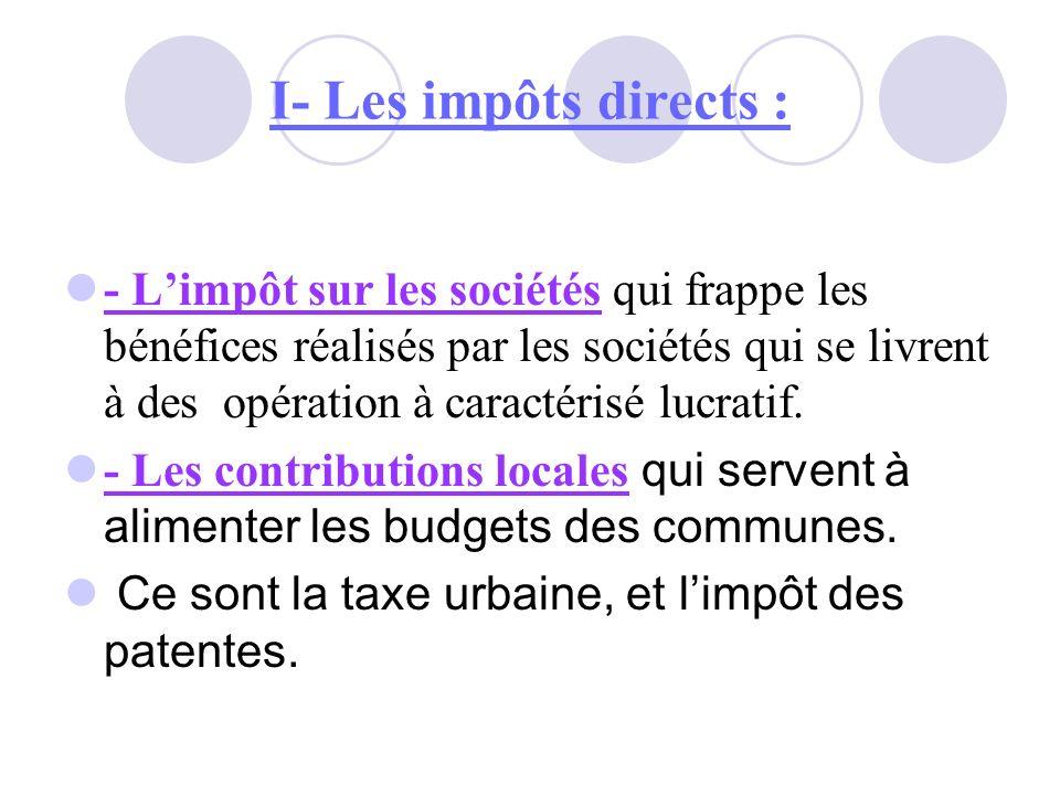 I- Les impôts directs :