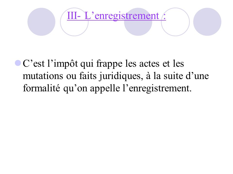 III- L'enregistrement :