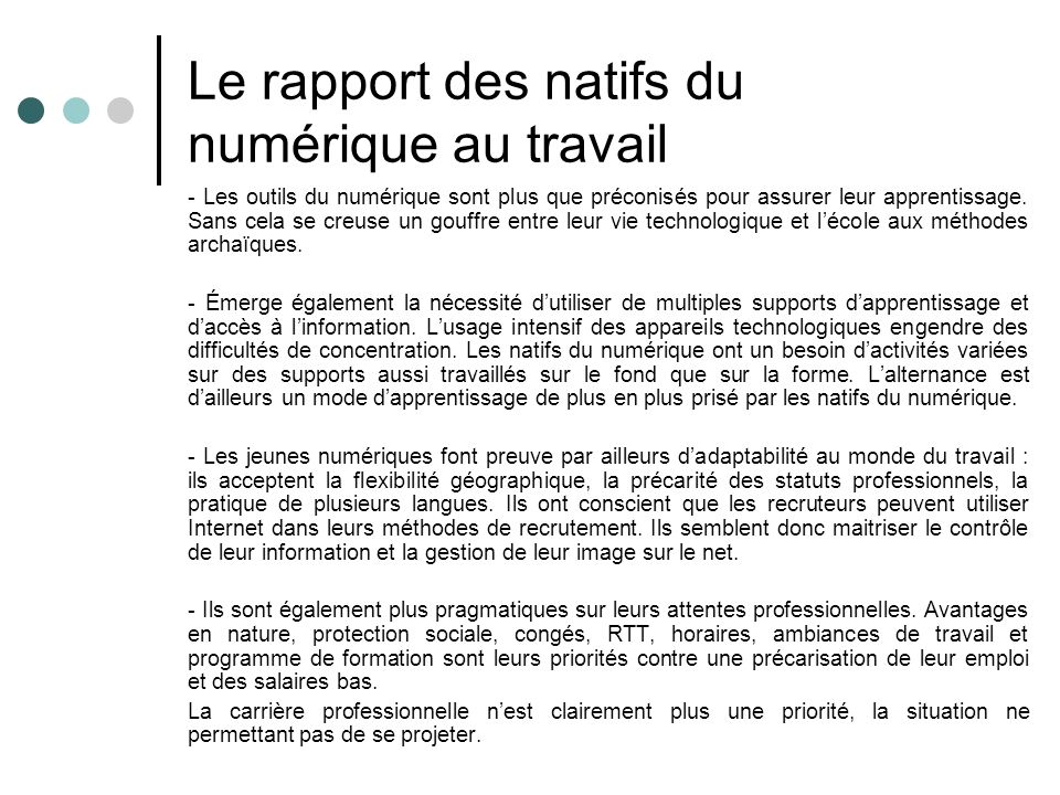 Le rapport des natifs du numérique au travail