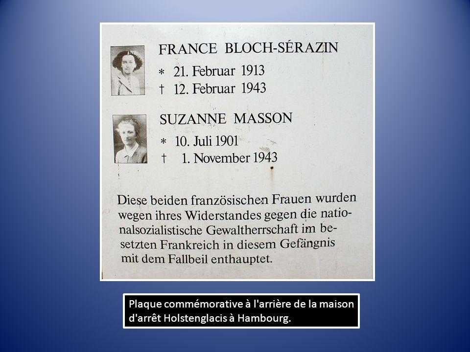 Plaque commémorative à l arrière de la maison d arrêt Holstenglacis à Hambourg.