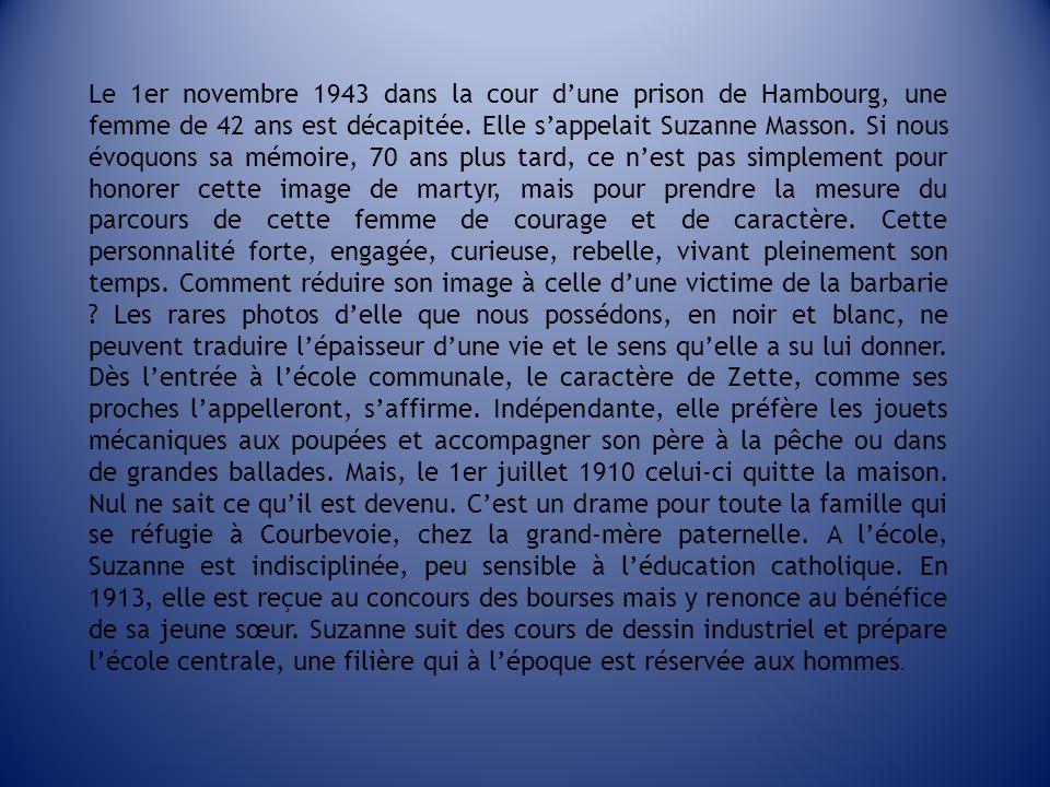 Le 1er novembre 1943 dans la cour d'une prison de Hambourg, une femme de 42 ans est décapitée.