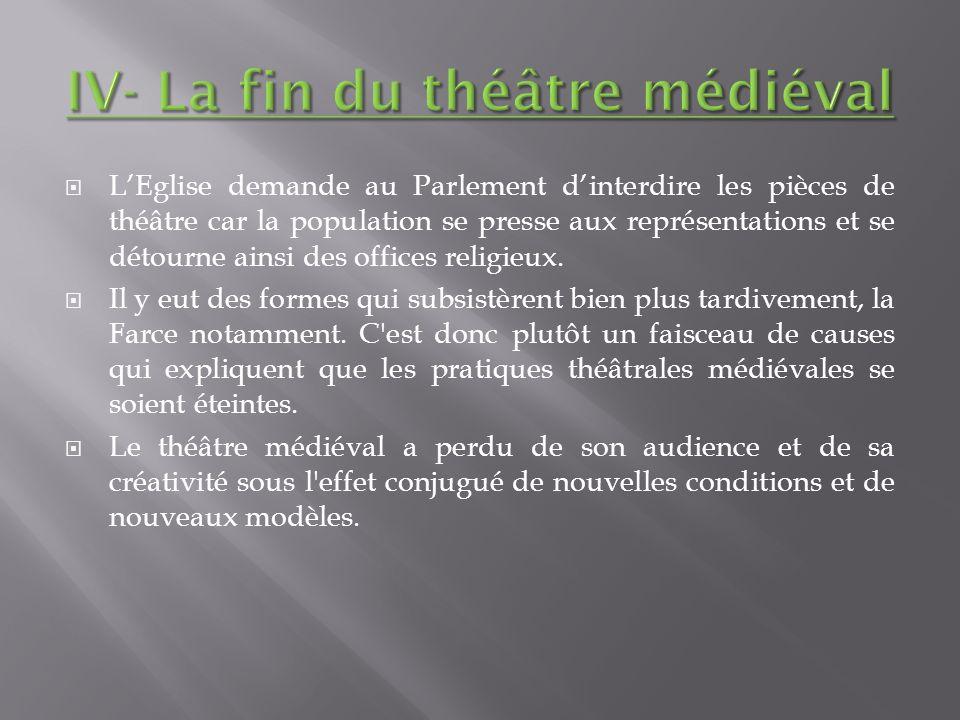 IV- La fin du théâtre médiéval