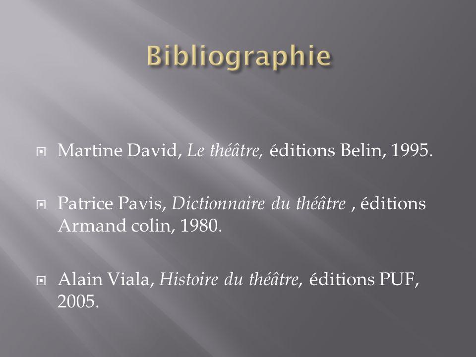Bibliographie Martine David, Le théâtre, éditions Belin, 1995.